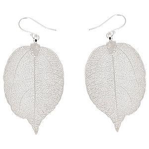 ANA Jewellery    Gümüş Renk Büyük Doğal Yaprak Küpe