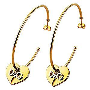 Dolce & Gabbana    Altın Kaplama D&G Yazılı Kalp Küpe
