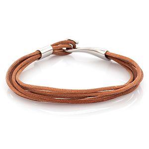 Iron Leather    Kahverengi İnce Kordonlu Çelik Deri Bileklik