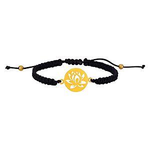 Kamalaya Design    Lotus Siyah İp Altın Kaplama Bileklik