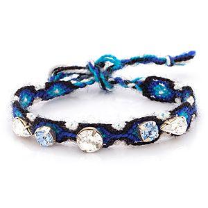 Parlaque    Mavi Örgü Kristal Taşlı Bileklik