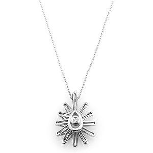 Q'te Diamond    Beyaz Çiçek Kolye