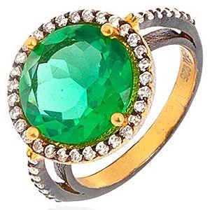 Zivatu    Zümrüt Yeşili Quartz Taşlı Gümüş Yüzük