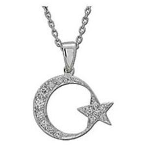 ARİŞ PIRLANTA    Pırlanta Ay Yıldız Beyaz Altın Kolye