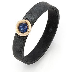 Elif Doğan Jewelry    Safir Okside Gümüş Yüzük
