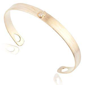 Lin Jewelry    Damla Taşlı Mat Sarı Bilezik
