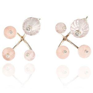 Lotus by Zeynep Erol    Rose Quartz Toplu Ailemiz Küpe