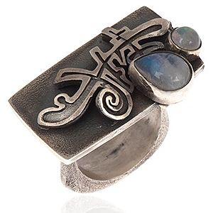 Mineral Takı    Moonstone Designer Gümüş Yüzük