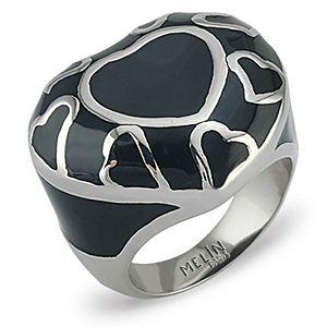 Melin Paris    Siyah Üzeri Büyük Küçük Metal Kalp Yüzük