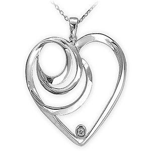 Ariş Ariş Pırlanta Gümüş 0,02 Karat Kalp Kolye