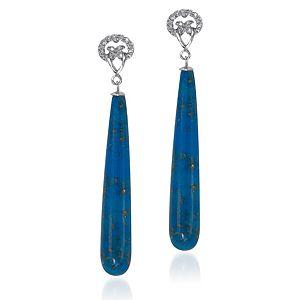 BRC Design Mavi Gümüş Taşlı Tasarım Küpe