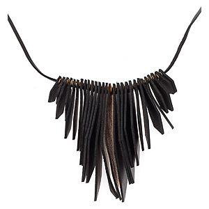 Pieces    Siyah Emmy Leather Kolye