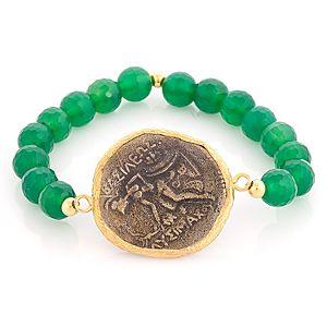 Ali Güleç    Yeşil Taşlı Antik Figürlü Para Bileklik