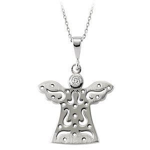 Eros Pırlanta Gümüş Melek Kolyesi