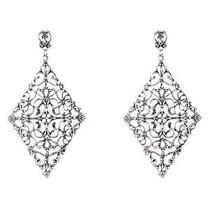 LUKATA    Gümüş Rengi Diamond Filigran Küpe