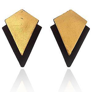 Pieces    Siyah- Altın Rengi Emmy Küpe