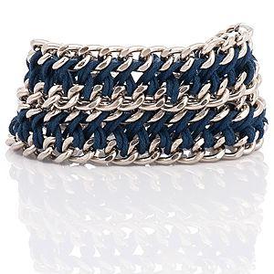 Chain Reaction    Metalik Lacivert Chain Braid XL Bileklik