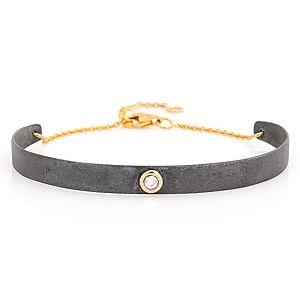 Elif Doğan Jewelry    Tek Taş İnce Plaka Bileklik