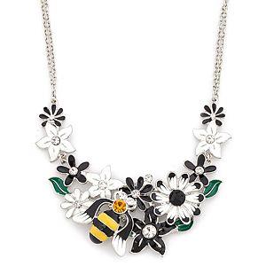 Essera    Gümüş Rengi Çiçek ve Arı Kolye