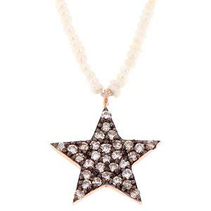 Takika Diamond    Beyaz İnci Yıldız Kolye
