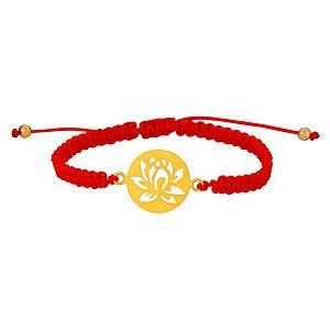 Kamalaya Design    Lotus Kırmızı İp Altın Kaplama Bileklik