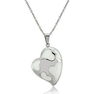 Melin Paris    Beyaz Kalp Desenli Kolye