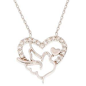 Coquet    Kuşlu Kalpli Gümüş Kolye