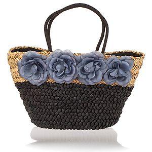 EMMA BROOKS    Lacivert Çiçekli Hasır Çanta