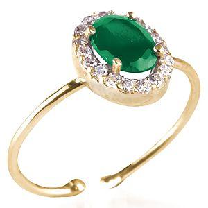 BRC Design Gümüş Yeşil Taşlı Tasarım Yüzük