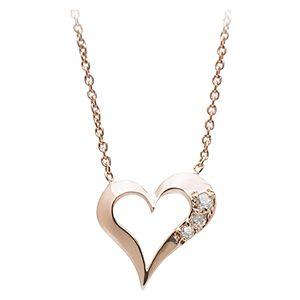 Eros Pırlanta Rose Altın Kalp Kolye