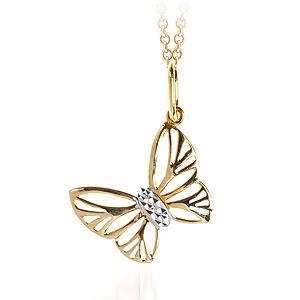 Myra Gold Yeşil Beyaz Altın Kelebek Kolye