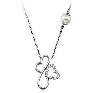 Nevinci İkili Kalp 925 Ayar Gümüş Kolye