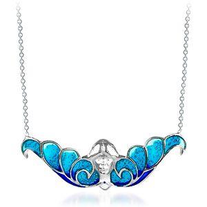 Vanilya Tasarım Art Nouveau Kanatlı Kız Mavi Kolye