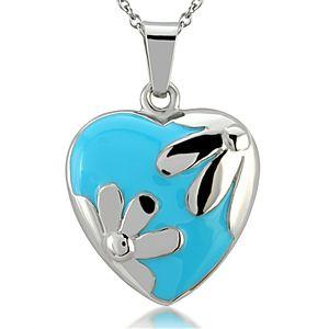 Melin Paris Çiçekli Mavi Kalp Mine Kolye