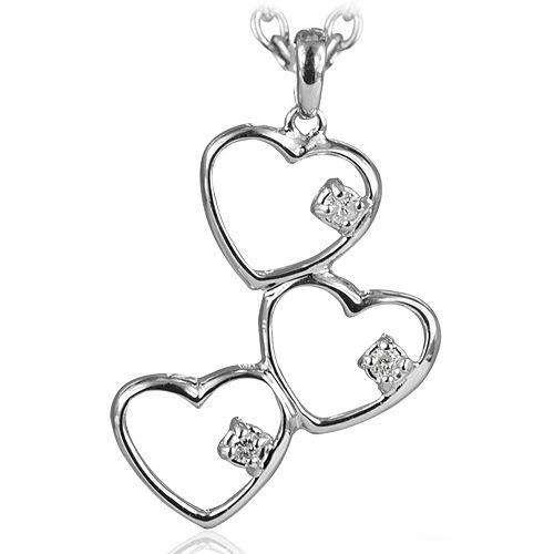 Ariş Ariş Gümüş Üçlü Pırlanta Kalp Kolye