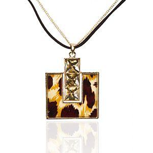 Leopar Desenli Kristal Taşlı Kolye