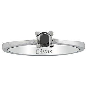 Divas Diamond Siyah Pırlanta Tektaş Yüzük