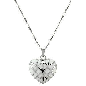 Melin Paris Beyaz Desenli Kalp Kolye