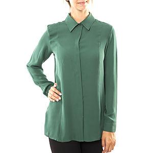 Silk and Cashmere Çam Yeşili Uzun Kollu Bluz / Gömlek