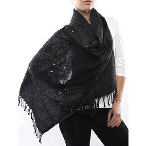 Silk and Cashmere Siyah Büyük Uzun Eşarp