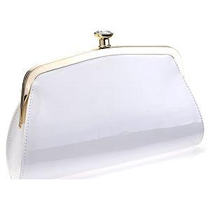 Sugar Bag Beyaz Elmas Taşlı Rugan Çanta