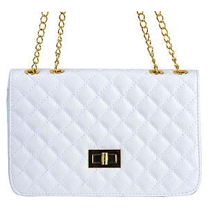 Sugar Bag Beyaz Mat Baklava Desenli Zincir Omuz Askılı Çanta