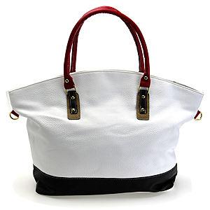 Sugar Bag Beyaz Renkli Kırmızı Saplı Omuz Askılı Çanta