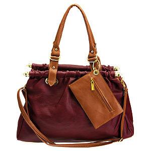 Sugar Bag Borda Renkli Kahverengi Cüzdan Ekli Çanta