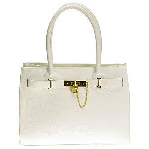 Sugar Bag Kilit Detaylı Beyaz Omuz Çantası