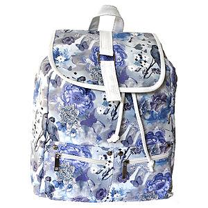 Sugar Bag Mavi Çiçek Desenli Sırt Çantası