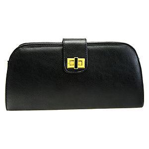 Sugar Bag Siyah Deri Clutch Çanta