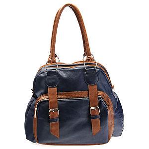 Sugar Bag Tokalı Fermuarlı Lacivert Omuz Askılı Çanta