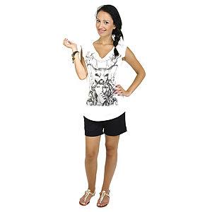 Tarsiani Milano Geyik Ve KAdın Desenli V Yaka T-shirt