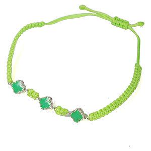 Vartan Collection Üçlü Papatya Makrome Bileklik Yeşil